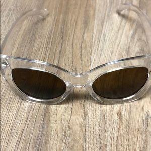 Clear frame wide cat eye sunglasses